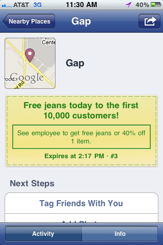 Gap Free Jeans Check In Facebook Places Page