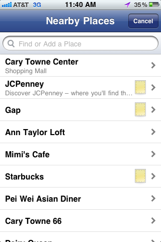 Facebook Places Screen