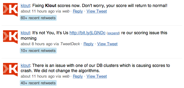 Klout Twitter messages about scoring problem