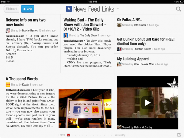Flipboard creates personalized magazine of content from news sources and social media