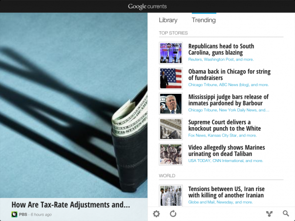 Google Currents offers library of content sources and trending stream