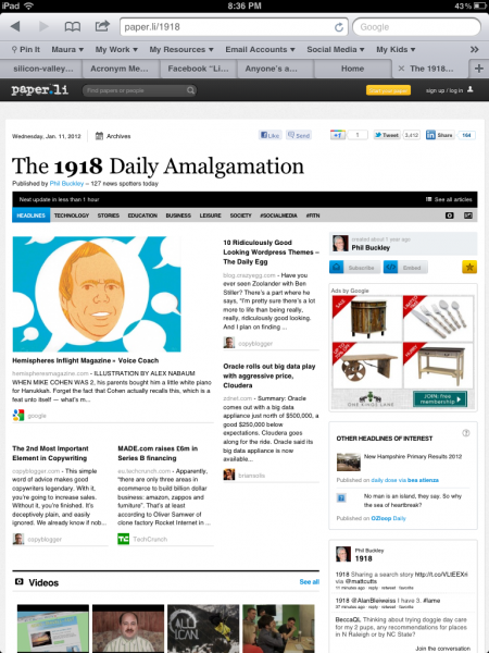 Paper.ly Daily Newspaper Style Curation Site