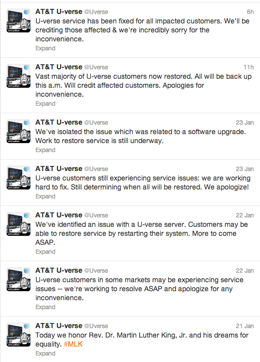 AT&T U-verse Twitter stream during network outage was poor to weak at best