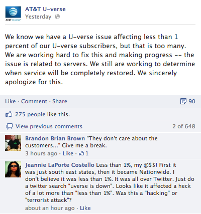 AT&amp;T U-verse Facebook Page was poorly utilized during crisis. What little information shared appeared inaccurate and unclear to customers.